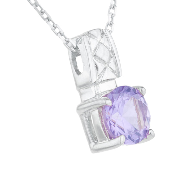 1 Ct Amethyst Round Design Pendant .925 Sterling Silver
