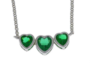 2 Carat Emerald Heart Bezel Pendant .925 Sterling Silver Rhodium Finish