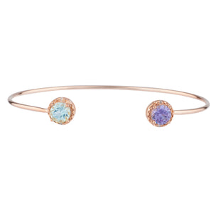 Genuine Aquamarine & Alexandrite Diamond Bangle Bracelet 14Kt Rose Gold Plated Over .925 Sterling Silver