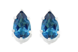 2 Carat London Blue Topaz Pear Shape Stud Earrings .925 Sterling Silver