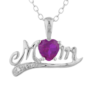 0.50 Ct Created Ruby & Diamond Heart Mom Pendant .925 Sterling Silver