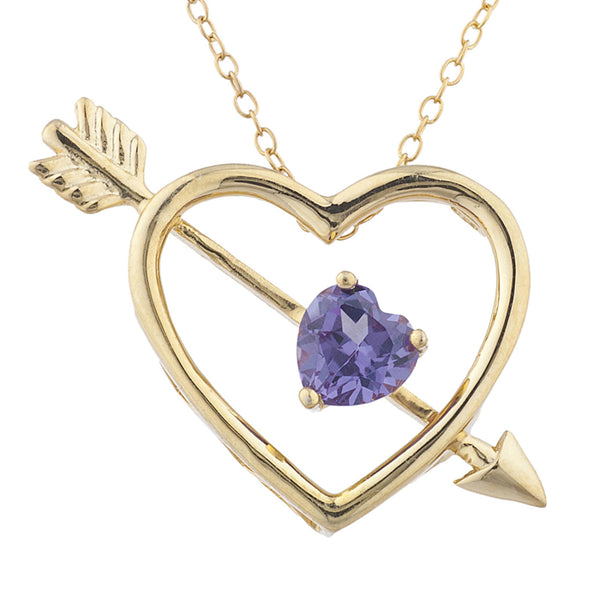14Kt Yellow Gold Plated Alexandrite Heart Bow & Arrow Pendant
