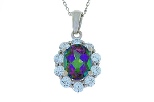 4 Ct Genuine Mystic Topaz & Zirconia Oval Pendant .925 Sterling Silver Rhodium Finish
