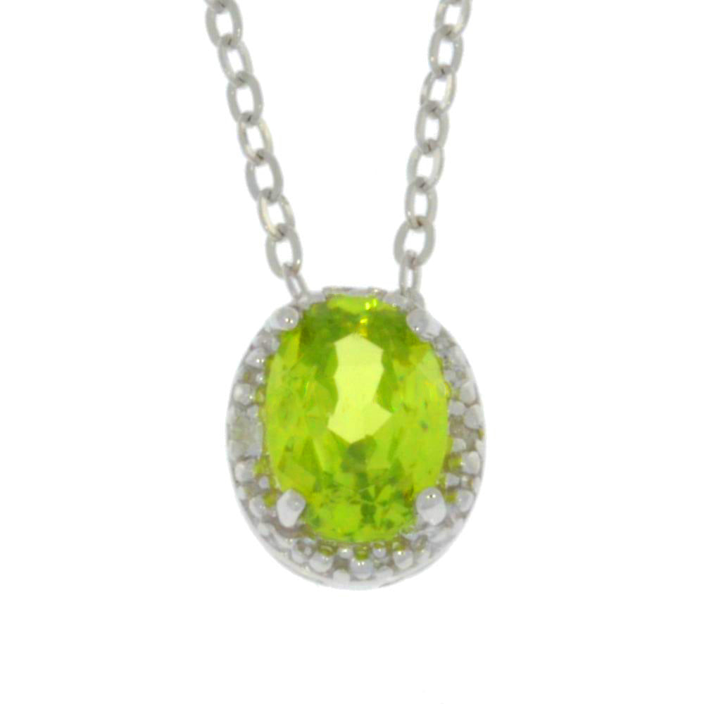 1 Ct Peridot Oval Diamond Pendant .925 Sterling Silver Rhodium Finish