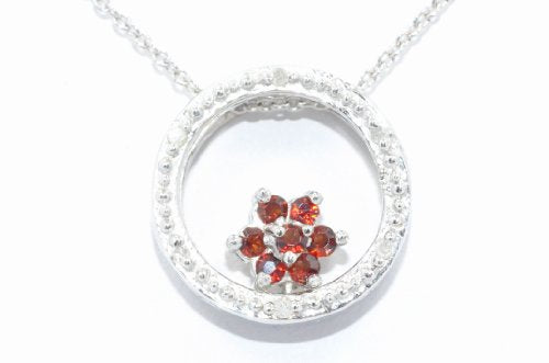 Garnet Round Diamond Pendant .925 Sterling Silver Rhodium Finish