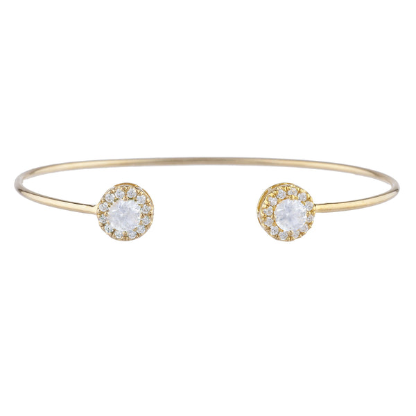 1 Ct White Sapphire Halo Design Round Bangle Bracelet 14Kt Yellow Gold Rose Gold Silver