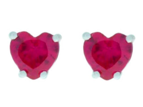 2 Ct Ruby Heart Stud Earrings .925 Sterling Silver