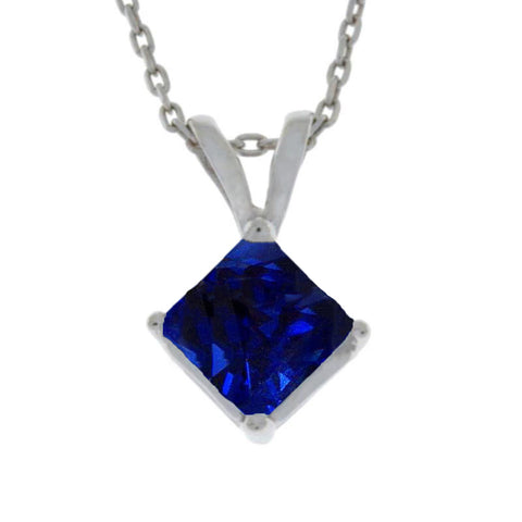 14Kt Gold Blue Sapphire Princess Cut Pendant Necklace