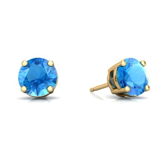 2 Ct Blue Topaz Round Stud Earrings 14Kt Yellow Gold