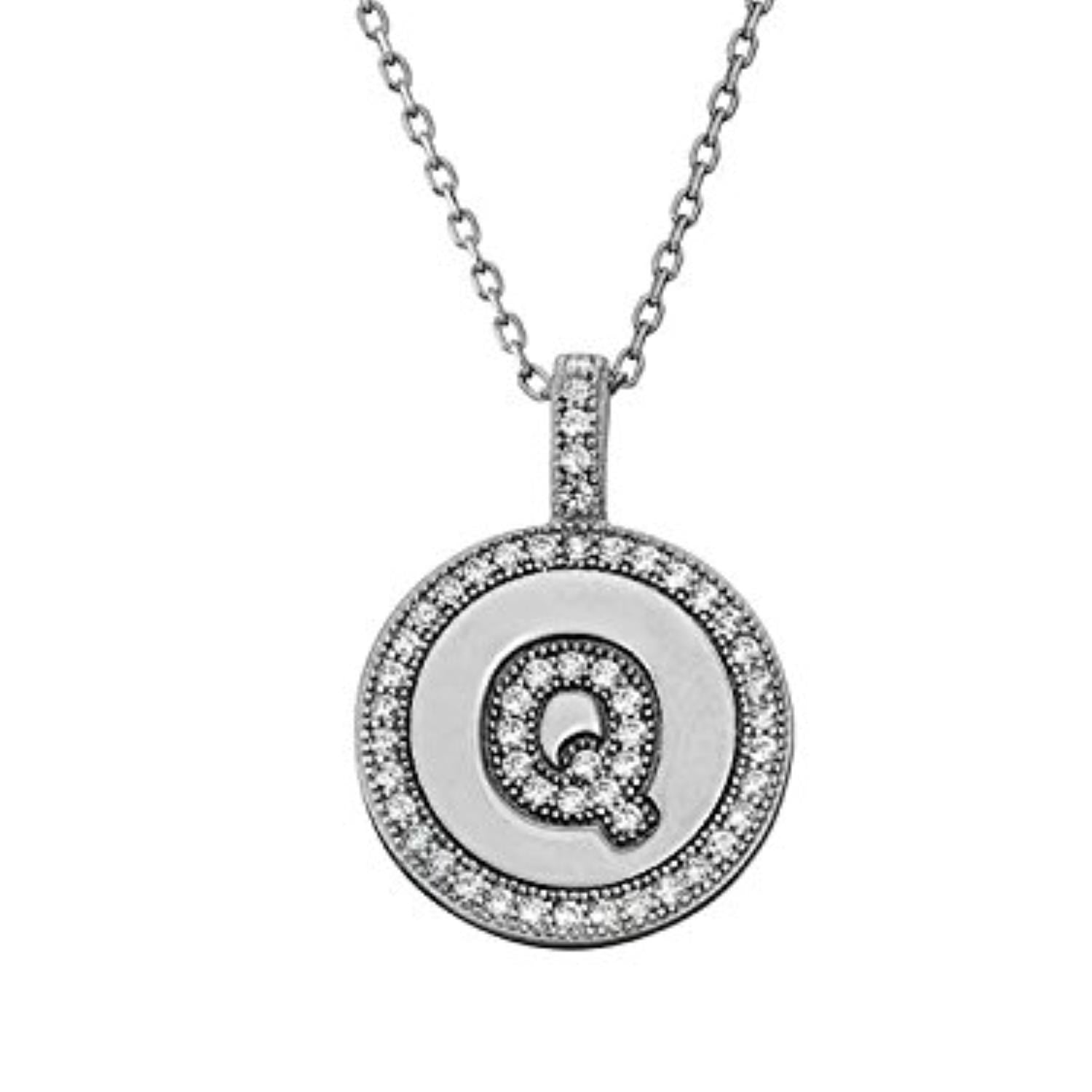 Letter Q Micro Pave Initial CZ Pendant .925 Sterling Silver