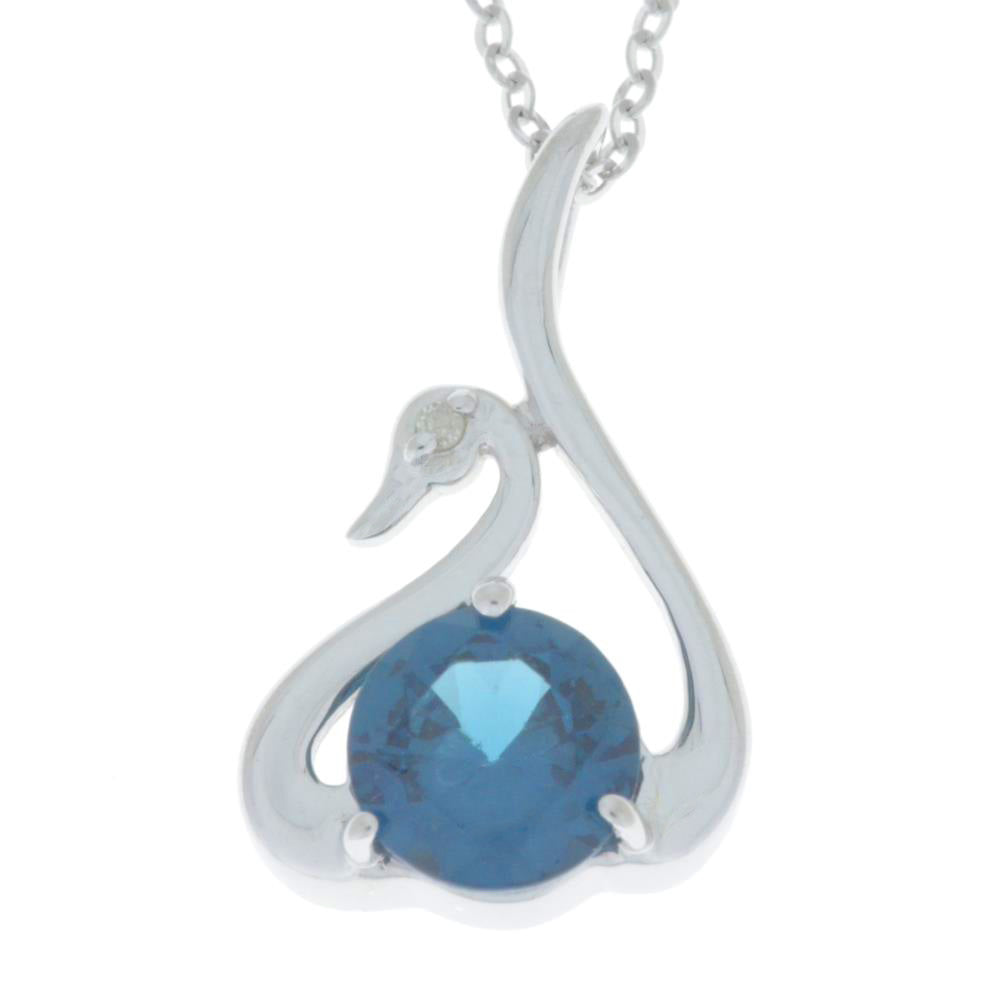 London Blue Topaz & Diamond Swan Pendant .925 Sterling Silver