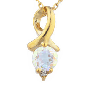 14Kt Yellow Gold Plated Natural Mercury Mist Mystic Topaz & Diamond Round Design Pendant