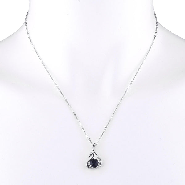 Genuine Black Onyx & Diamond Swan Pendant .925 Sterling Silver