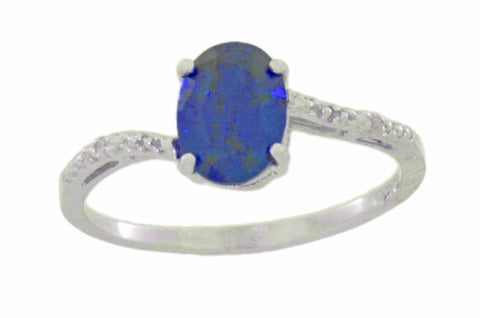 14Kt White Gold Blue Sapphire & Diamond Oval Ring