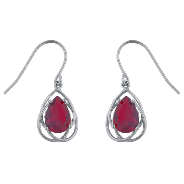 4 Ct Garnet Pear Teardrop Design Dangle Earrings .925 Sterling Silver