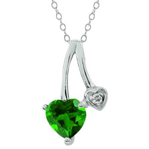 1 Ct Created Emerald Heart & Diamond Pendant .925 Sterling Silver Rhodium Finish