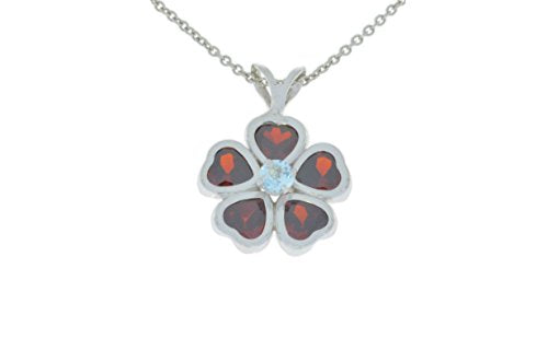 2.5 Ct Garnet Heart Bezel & Aquamarine Pendant .925 Sterling Silver Rhodium Finish