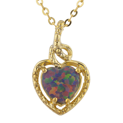 14Kt Gold Black Opal Heart Design Pendant Necklace
