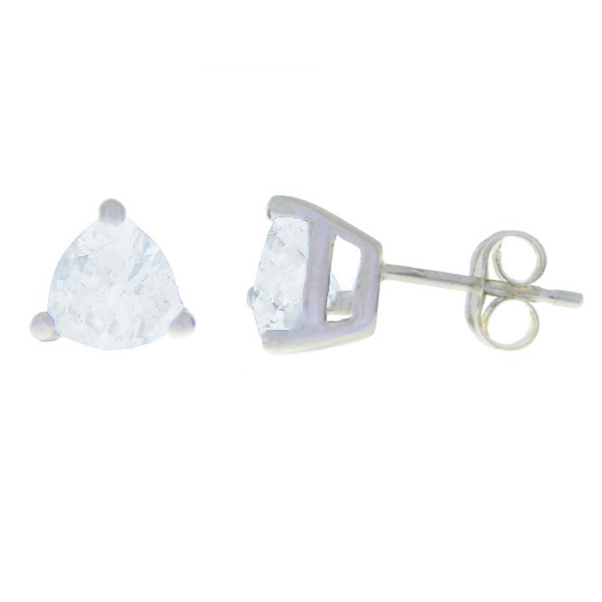 2 Ct White Sapphire Trillion Stud Earrings .925 Sterling Silver