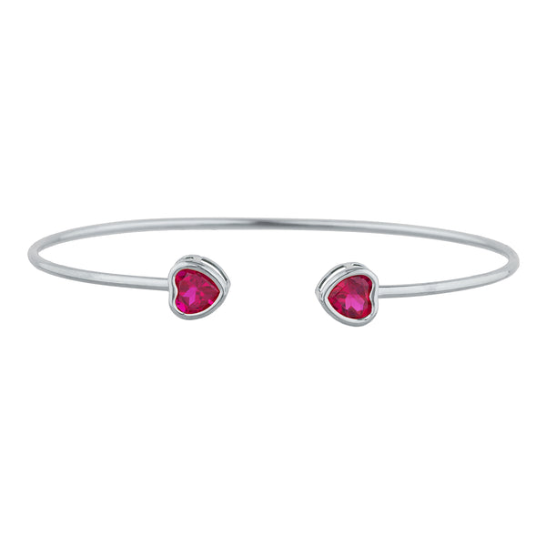 2 Ct Created Ruby Heart Bezel Bangle Bracelet .925 Sterling Silver