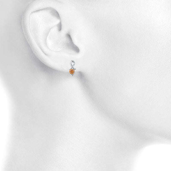 1 Ct Orange Citrine & Diamond Round Design Stud Earrings .925 Sterling Silver