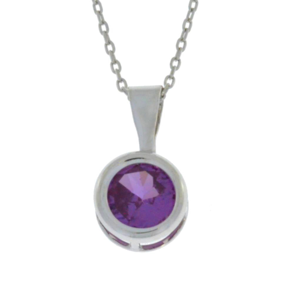 1 Ct Alexandrite Round Bezel Pendant .925 Sterling Silver Rhodium Finish