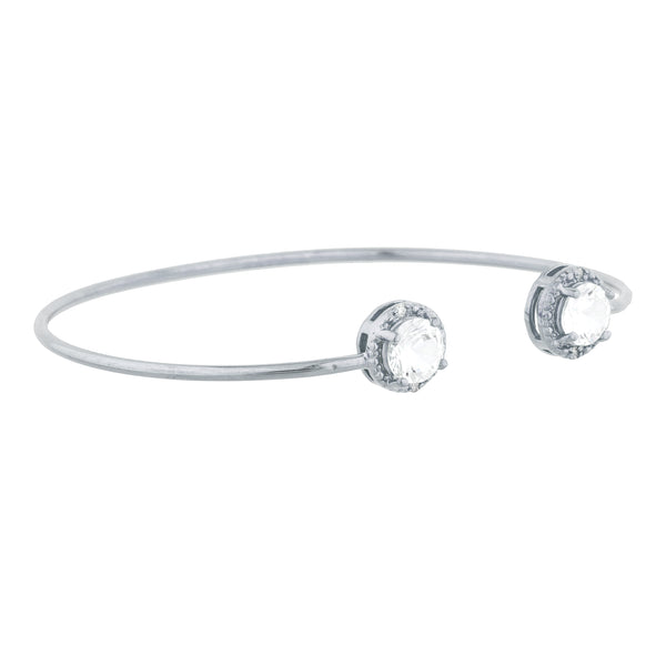 2 Ct White Sapphire & Diamond Round Bangle Bracelet .925 Sterling Silver