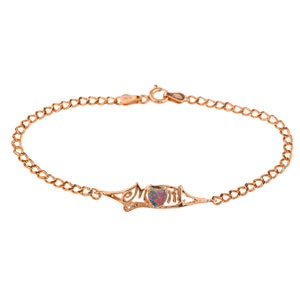 Black Opal & Diamond Heart Mom Bracelet 14Kt Rose Gold Plated Over .925 Sterling Silver