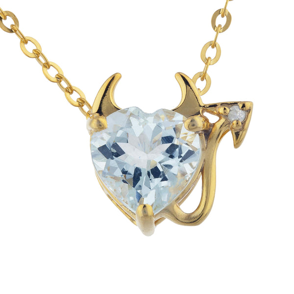 1.5 Ct Genuine Aquamarine & Diamond Devil Heart Pendant 14Kt Yellow Gold Silver