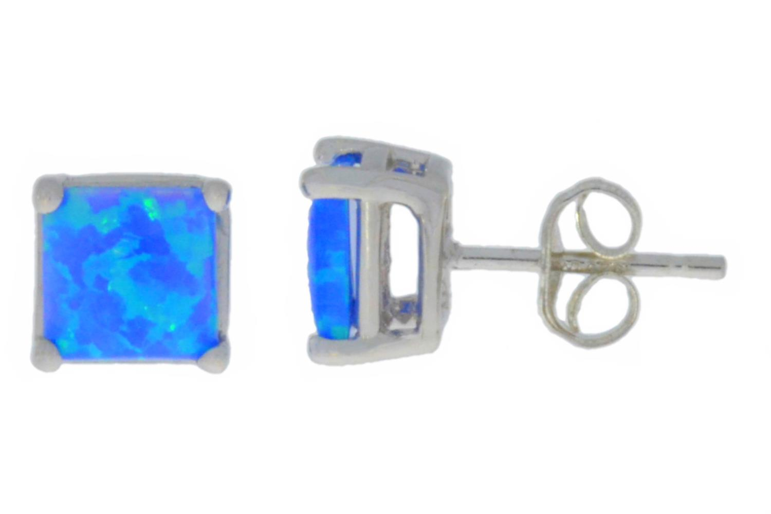 Blue Opal Princess Cut Stud Earrings 14Kt White Gold