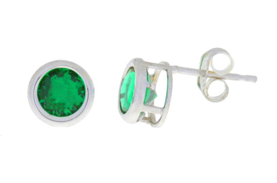 2 Ct Created Emerald Round Bezel Stud Earrings .925 Sterling Silver
