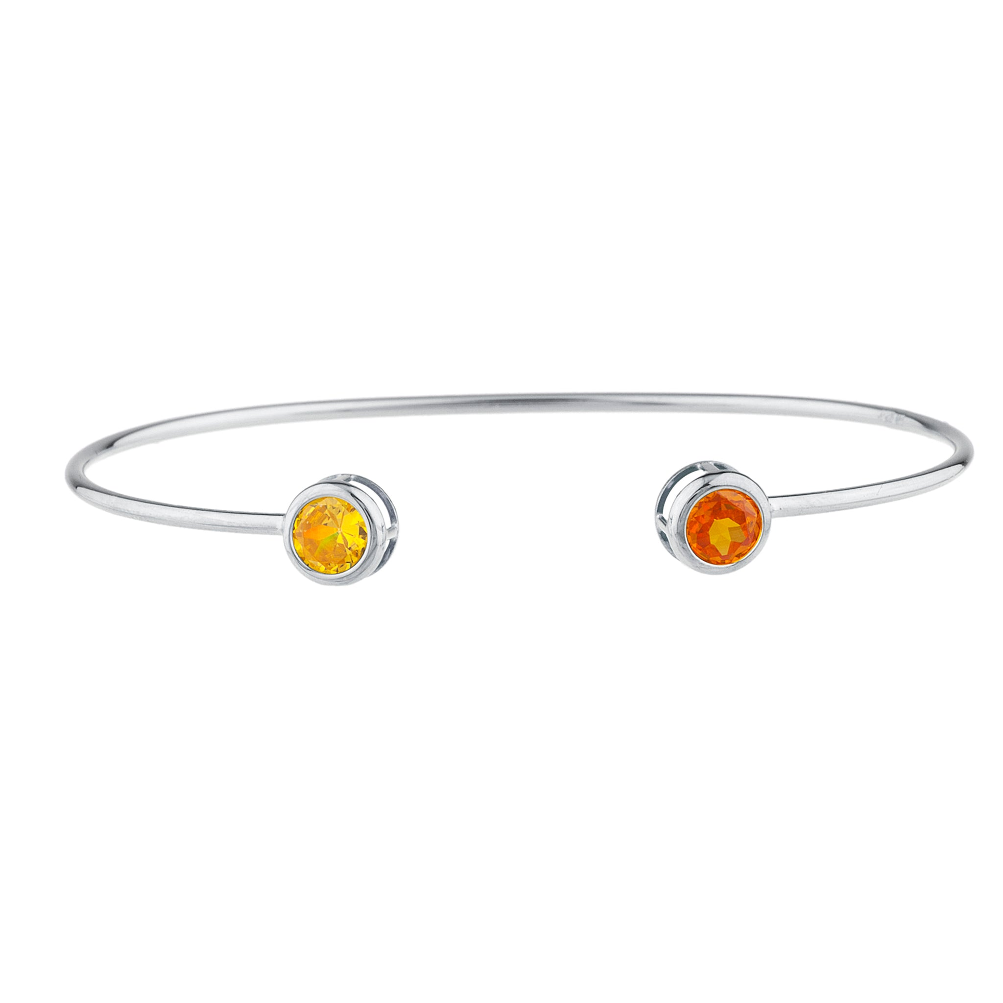 Orange & Yellow Citrine Round Bezel Bangle Bracelet .925 Sterling Silver