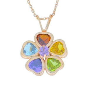 Gemstone Heart Bezel Pendant 14Kt Rose Gold Plated Over .925 Sterling Silver