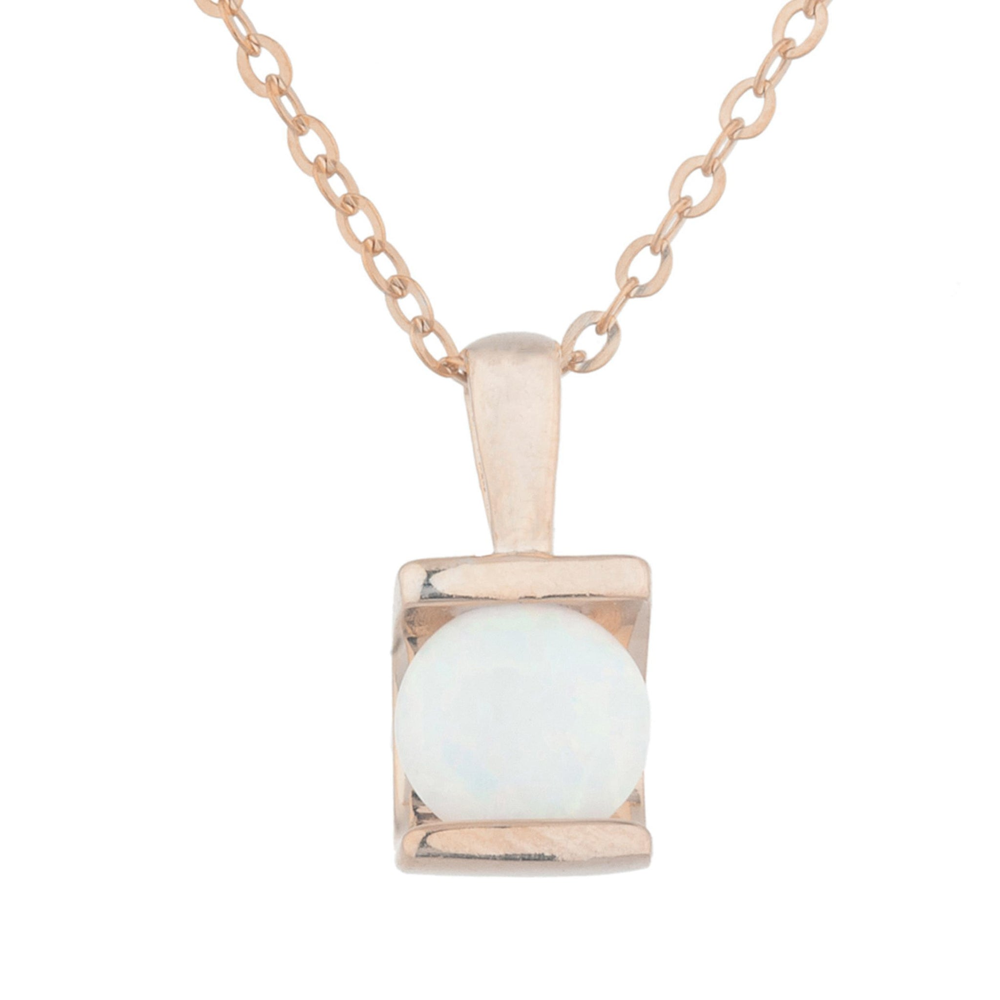 14Kt Rose Gold Plated Opal Half Channel Pendant