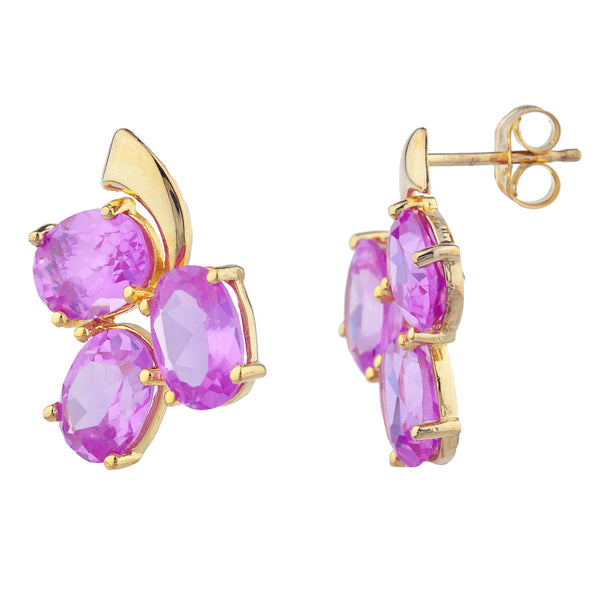 14Kt Yellow Gold Plated Pink Sapphire Oval Design Stud Earrings