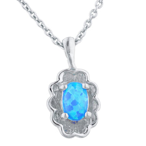 Blue Opal Oval Design Pendant .925 Sterling Silver