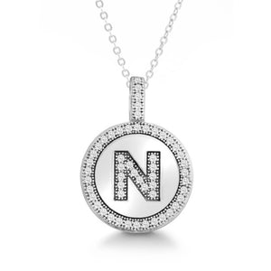 Letter N Micro Pave Initial CZ Pendant .925 Sterling Silver