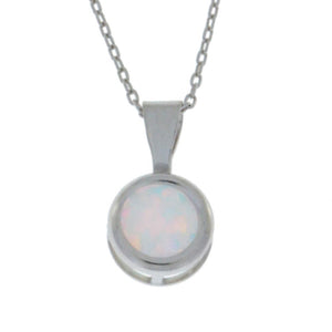 Genuine Opal Round Bezel Pendant .925 Sterling Silver Rhodium Finish