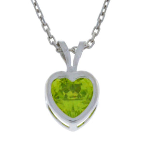 1 Ct Peridot Heart Bezel Pendant .925 Sterling Silver Rhodium Finish