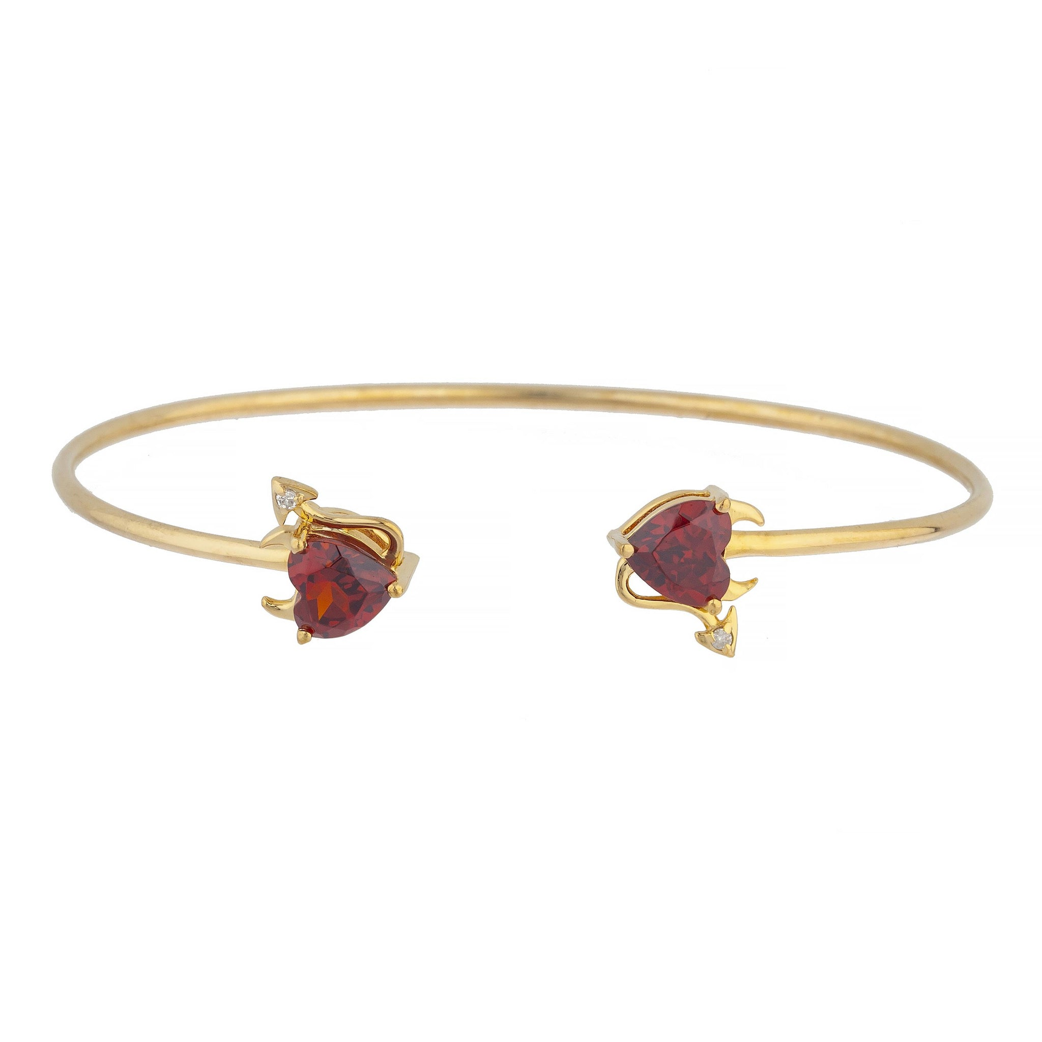 Garnet & Diamond Devil Heart Bangle Bracelet 14Kt Yellow Gold Rose Gold Silver