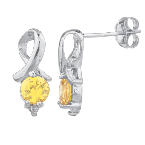 1 Ct Yellow Citrine & Diamond Round Design Stud Earrings .925 Sterling Silver
