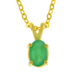Natural Emerald 6x4mm Oval Pendant 14Kt Yellow Gold Plated Over Sterling Silver