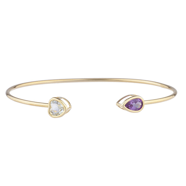 Aquamarine Heart & Amethyst Pear Bezel Bangle Bracelet 14Kt Yellow Gold Plated Over .925 Sterling Silver