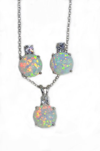 Opal & Zirconia Stud Earrings and Pendant Set .925 Sterling Silver Rhodium Fi...