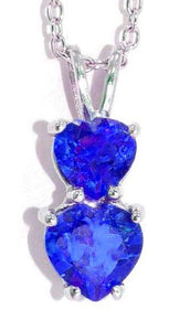 1.5 Ct Created Blue Sapphire Double Heart Pendant .925 Sterling Silver Rhodium Finish