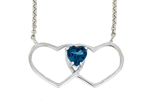 1 Ct London Blue Topaz Double Heart Pendant .925 Sterling Silver Rhodium Finish
