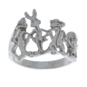 Looney Tunes Ring Daffy Duff Bugs Bunny Sylvester Tweety .925 Sterling Silver