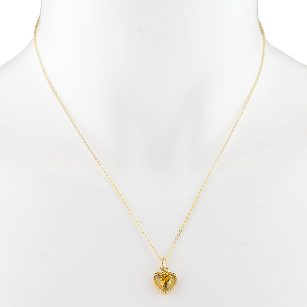 14Kt Yellow Gold Plated Yellow Citrine Heart Design Pendant