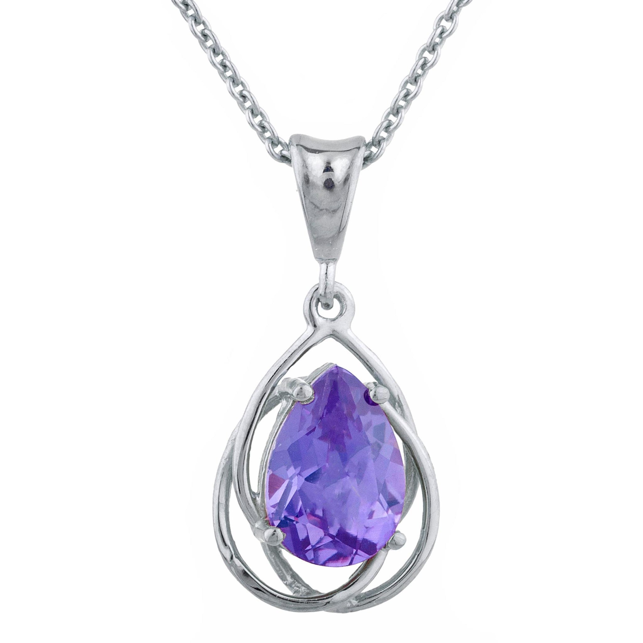 2 Ct Alexandrite Pear Teardrop Design Pendant .925 Sterling Silver