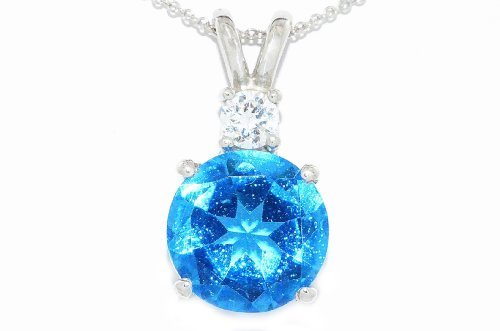 4 Ct Swiss Blue Topaz & Zirconia Round Pendant .925 Sterling Silver Rhodium Finish